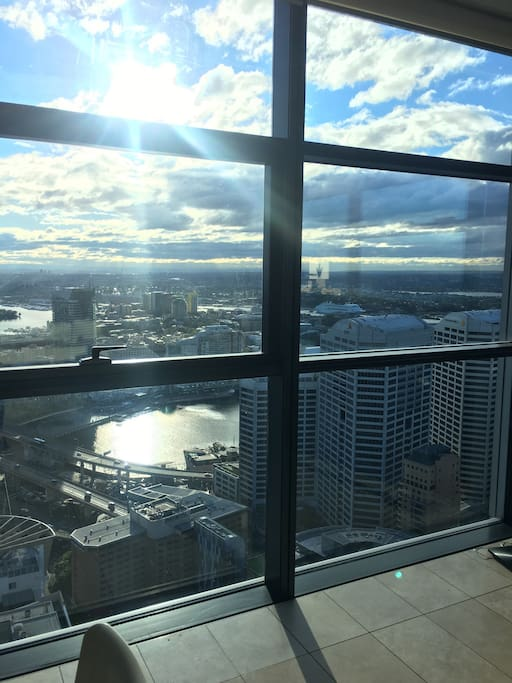 Floor to ceiling views of Darling Harbour including the fireworks!
