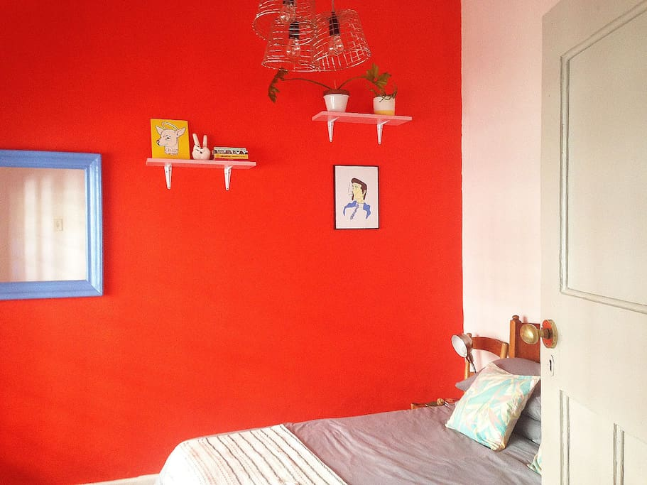 Bright 2nd bedroom with double bed.