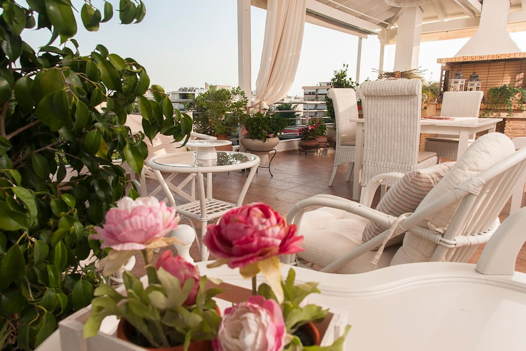 The big balcony can accommodate more than 10 persons