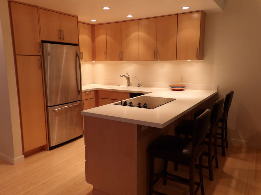 Modern kitchen with Corian countertops