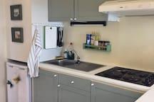 Fridge and basic kitchen equipment