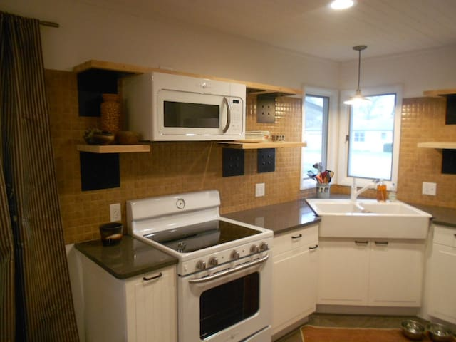 All new appliances--stove, refrigerator and microwave.