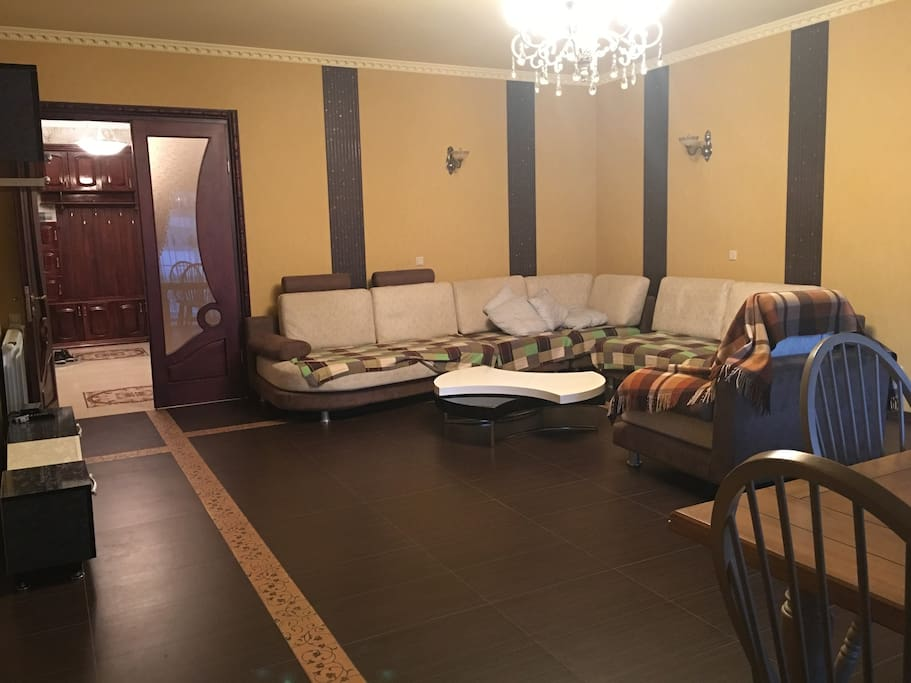 huge living room for great amount of guests. really quit environment.