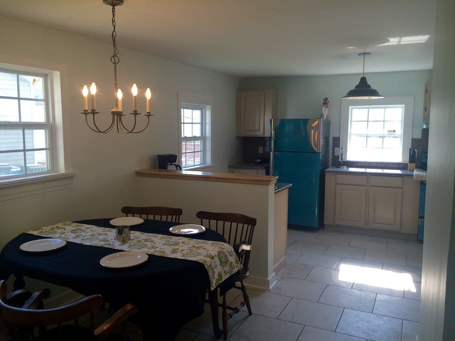Spacious kitchen and dining.