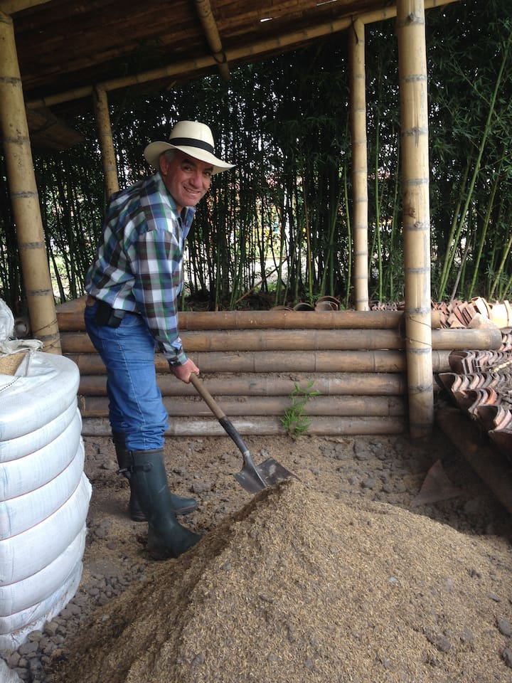 Jorge Lema, the organic agronomist who consults with us, mixing his special organic fertilizer