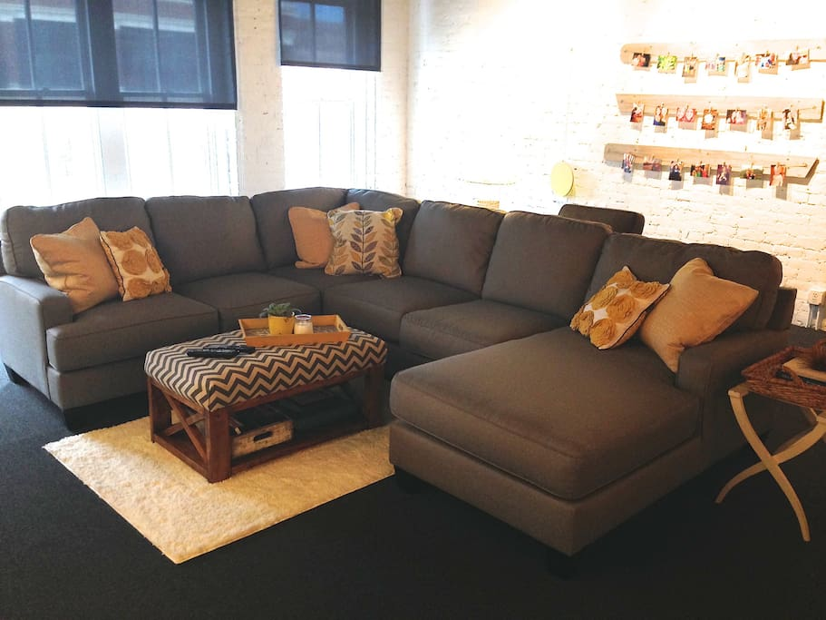Large sectional comfortably seats six people.