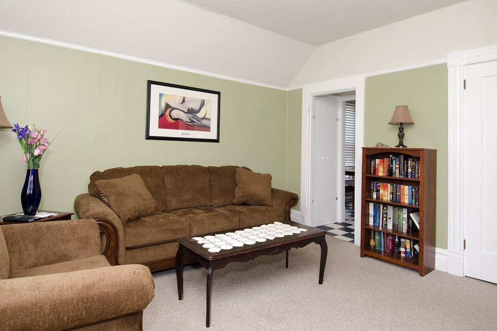 Comfortable living room with books, TV, and  cushy seating.