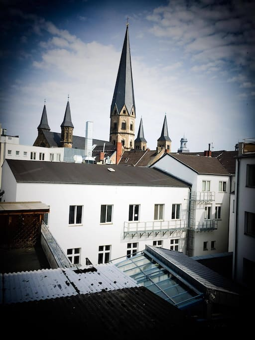 Window view over the roofs of Bonn