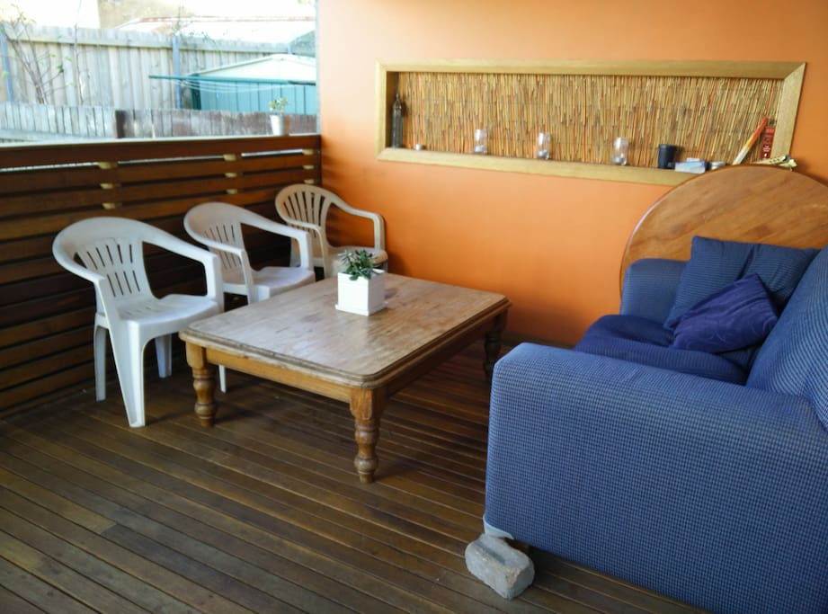 Decking on the back porch (there's also a small courtyard and outdoor laundry and toilet)