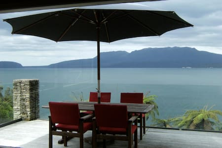 Lake edge house with stunning views and nice jetty - Lake Tarawera