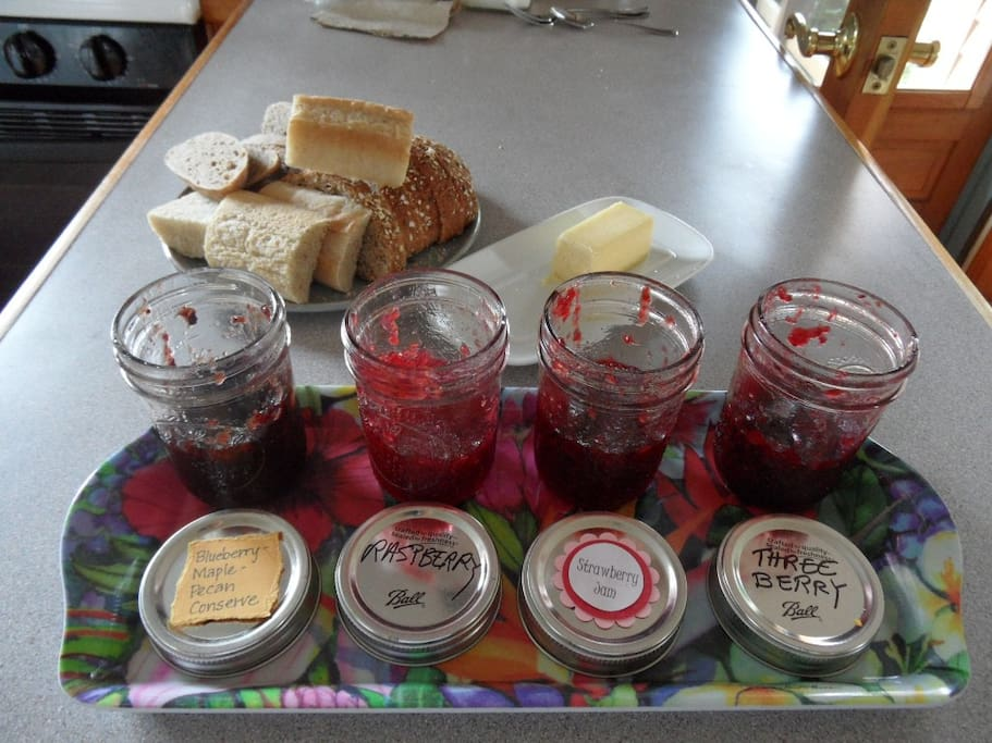 Homemade jams complement home-baked breads, muffins and fresh farm eggs