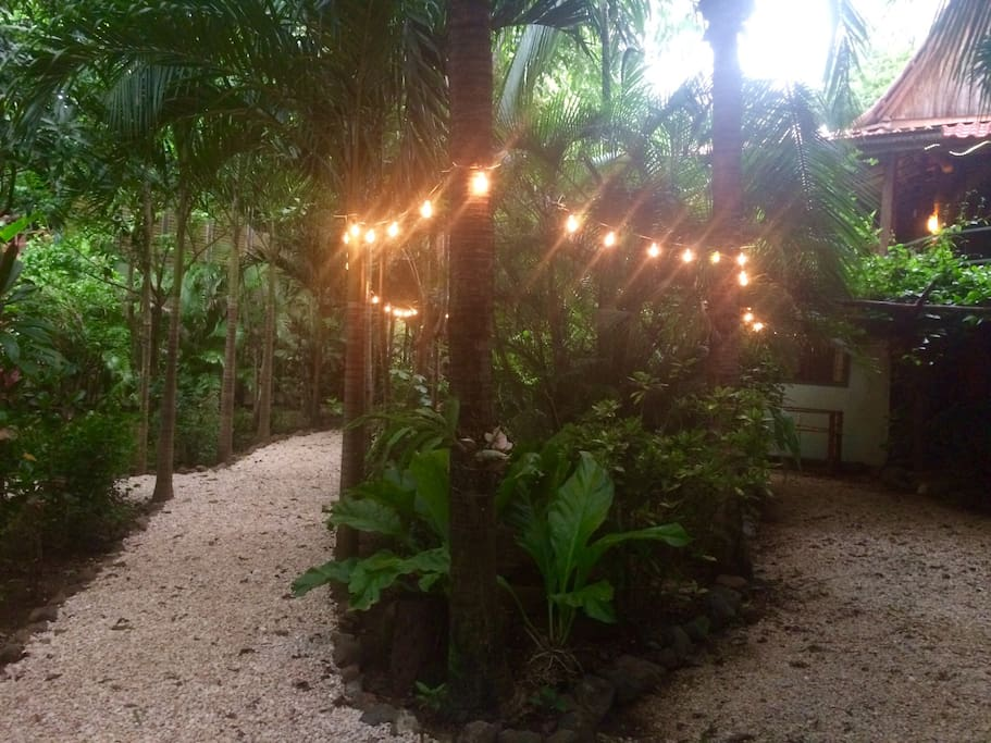 Night view of garden paths, with Casa Wantana in upper right