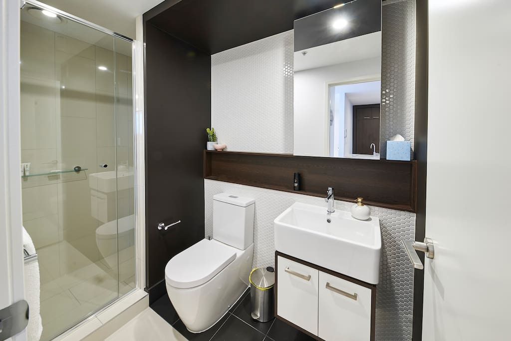 Bathroom with Luxurious amenities and shower