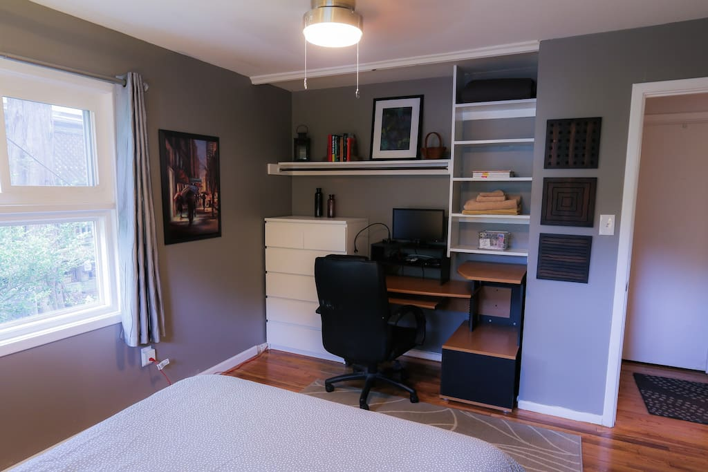 Large desk and TV