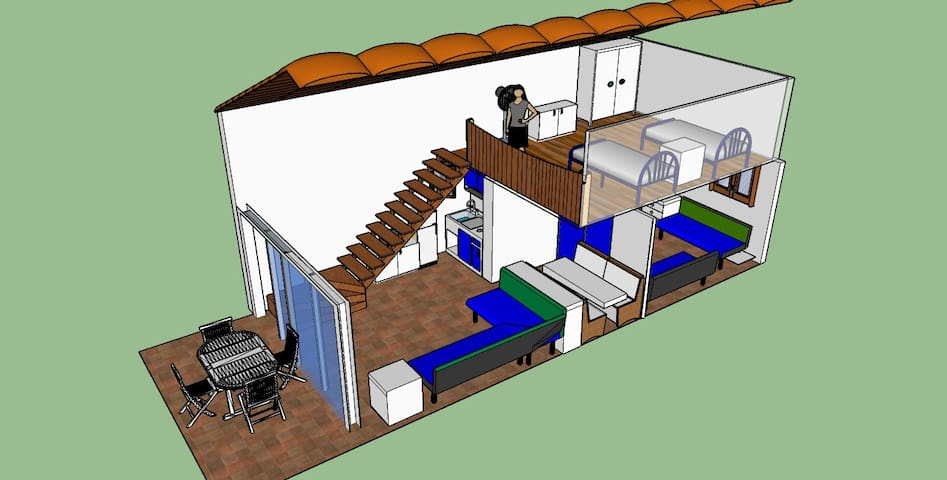 3D view of the apartment - the two floors