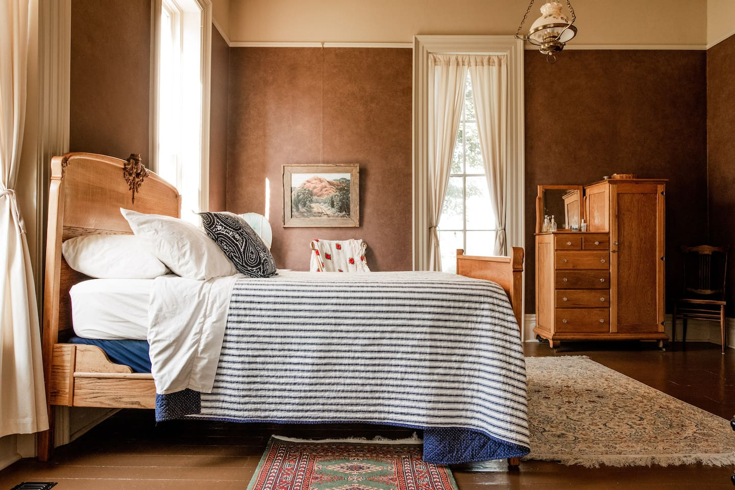 The Guest Room suite is full of oak antiques, including a full sized bed.