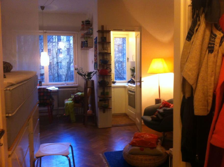Sovrum/vardagsrum med 1,40 säng. Sett från hallen.