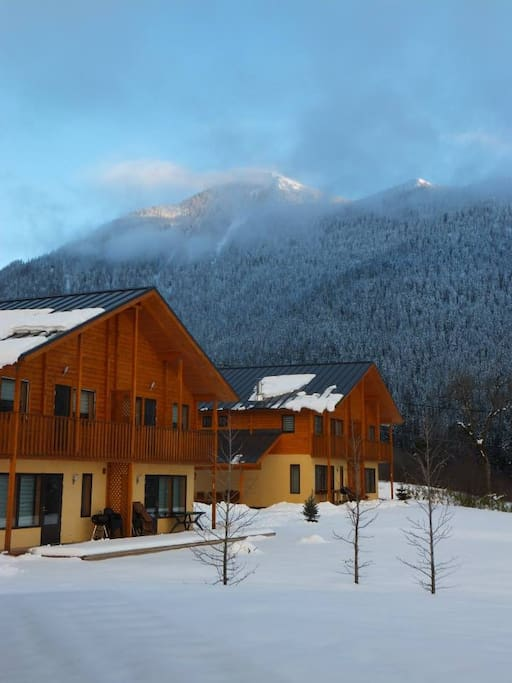 View of the chalets during winter