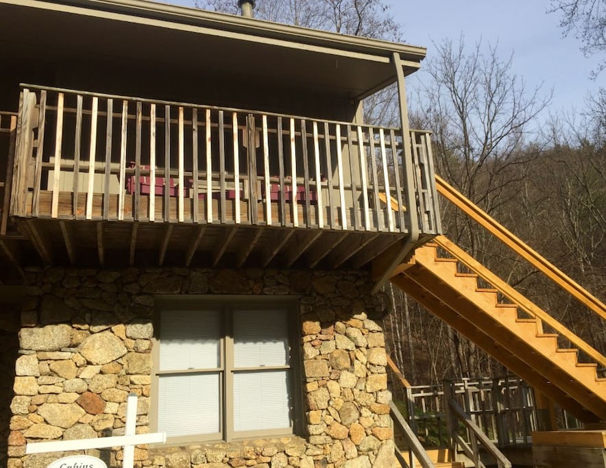 Tony's entrance is up the right side of the main building just above The Priest View Internet Lounge.  It has a nice front porch for enjoying your morning coffee and sunrise while listening to the wind in the trees and the Tye River rushing just down the mountain.