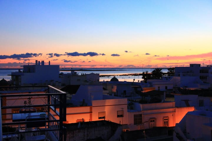 Roof top view of Sunset over Ria Formosa