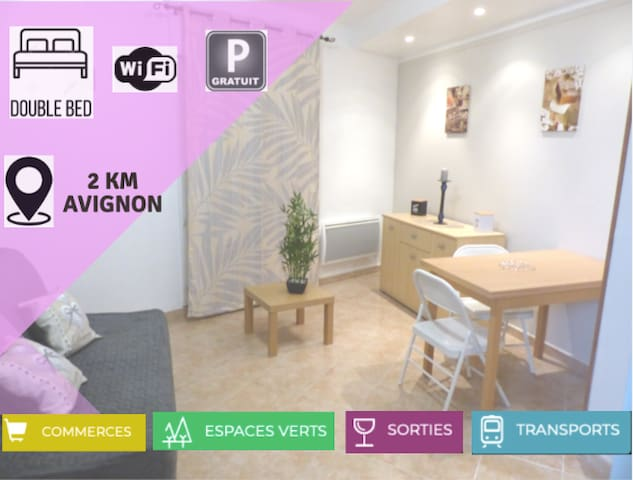 Studio à 2km d'Avignon Centre - Parking & Animaux