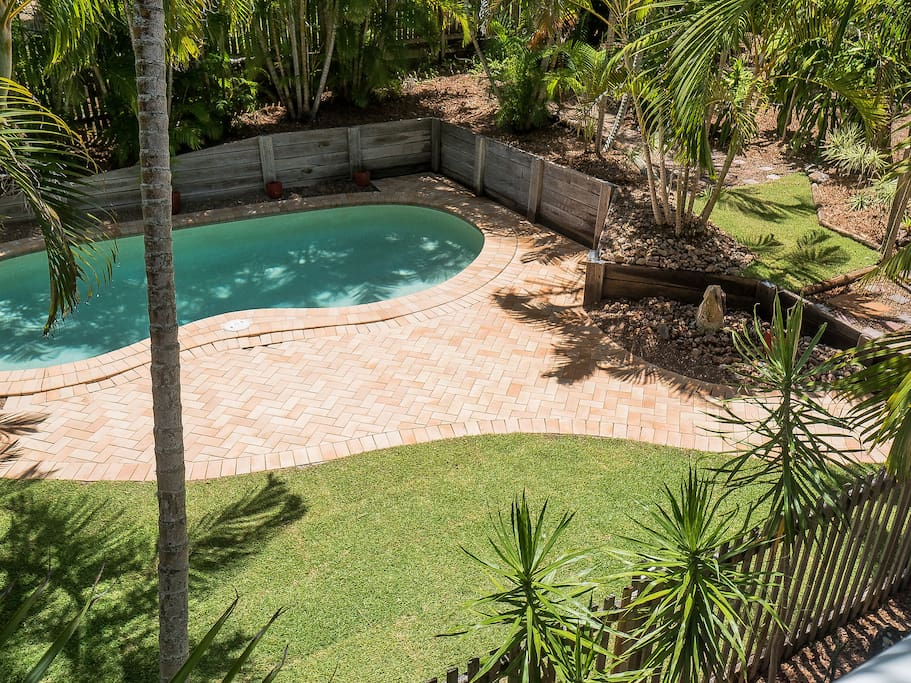 Relax by the private pool in a tranquil palm-filled garden!