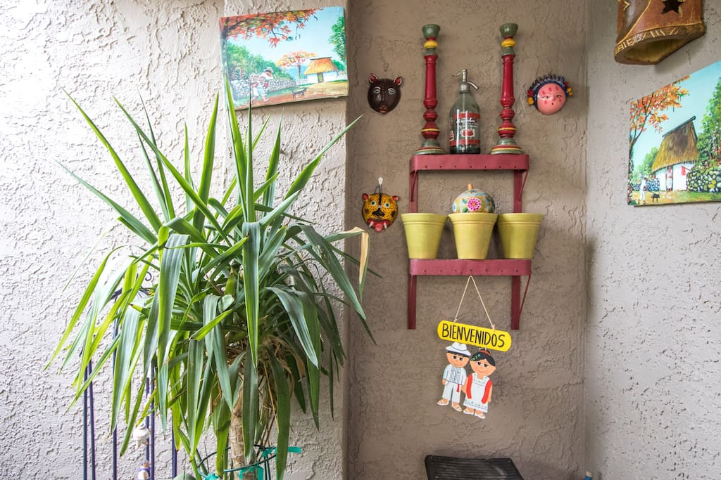 Front patio off the guest bedroom has a Mexican theme.