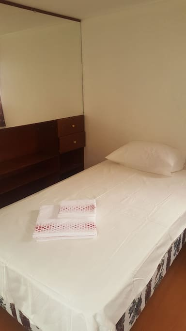 Single beds and clean towels provided