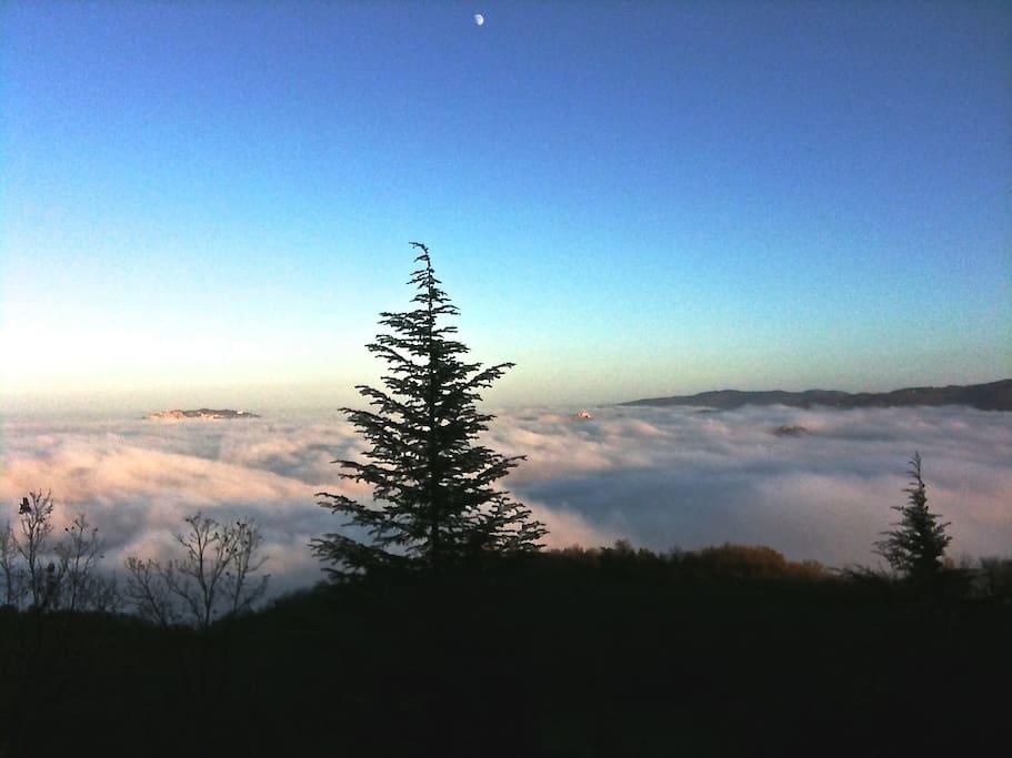 Vista dal terrazzo quando sale la nebbia