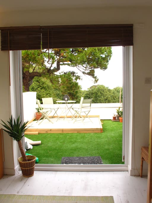 Open the French doors on a sunny day and let the outside in!