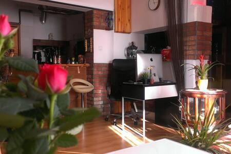 Wygodny apartament z zadrzewionym małym ogródkiem
