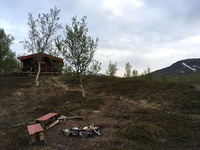 Rustikk tømmerhytte i Kvalsunddalen