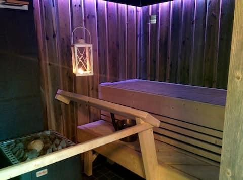 Comfy sauna cabin in calm area