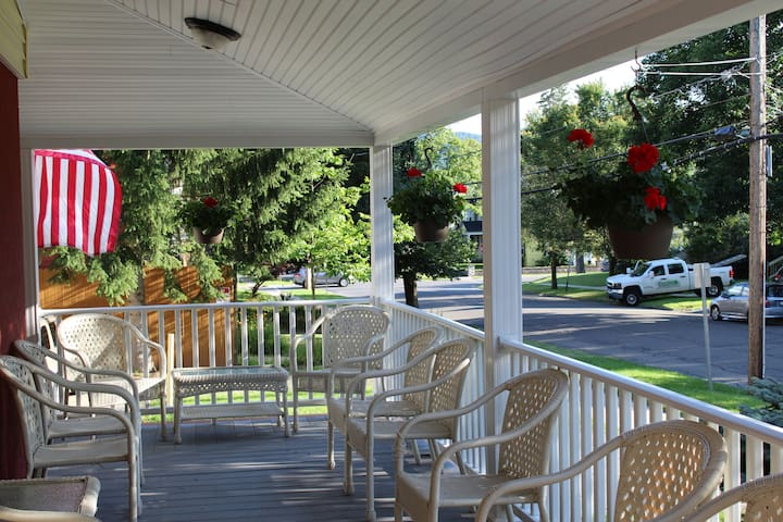 Large wrap around front porch for relaxing after a long day at the ballpark or sightseeing