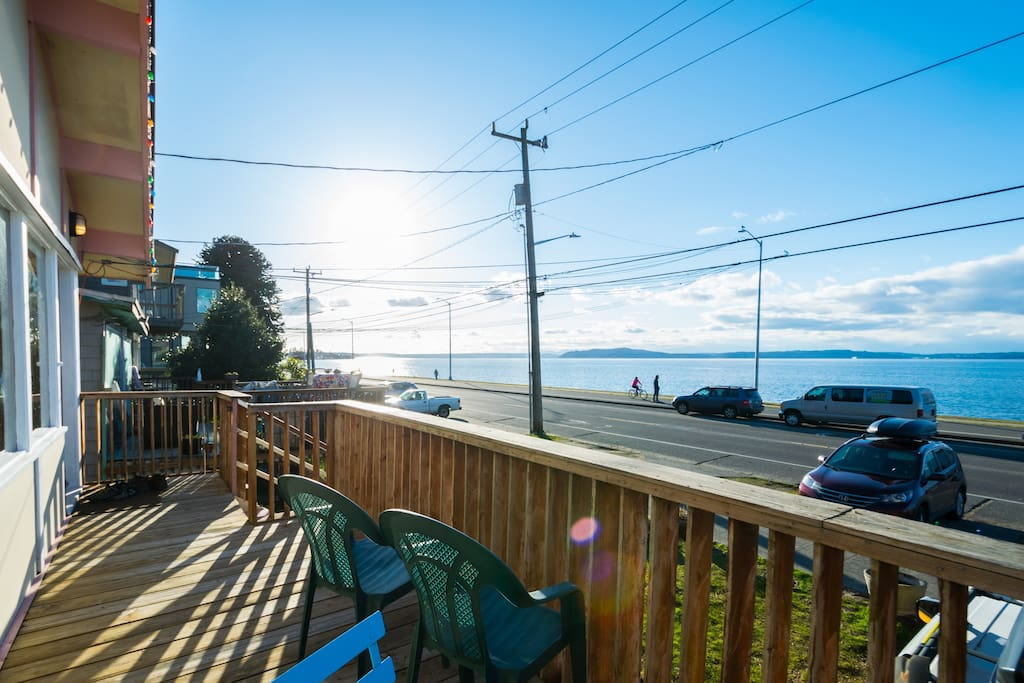 Puget Sound and beach views from the large deck.
