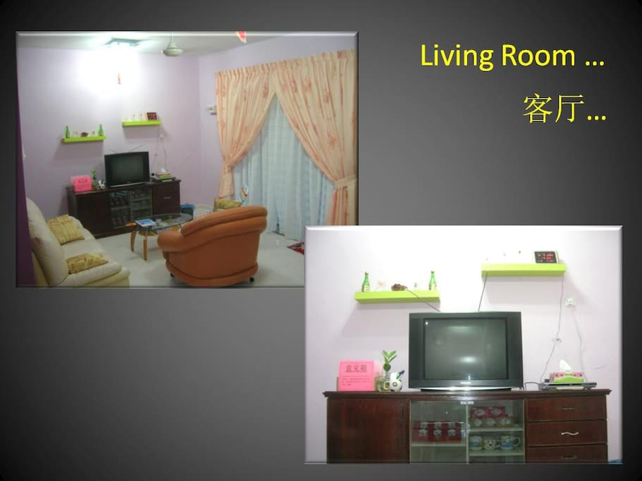 Living room with Sofa, TV, DVD players, Mahjong Table, Dining Table & Air Conditioned