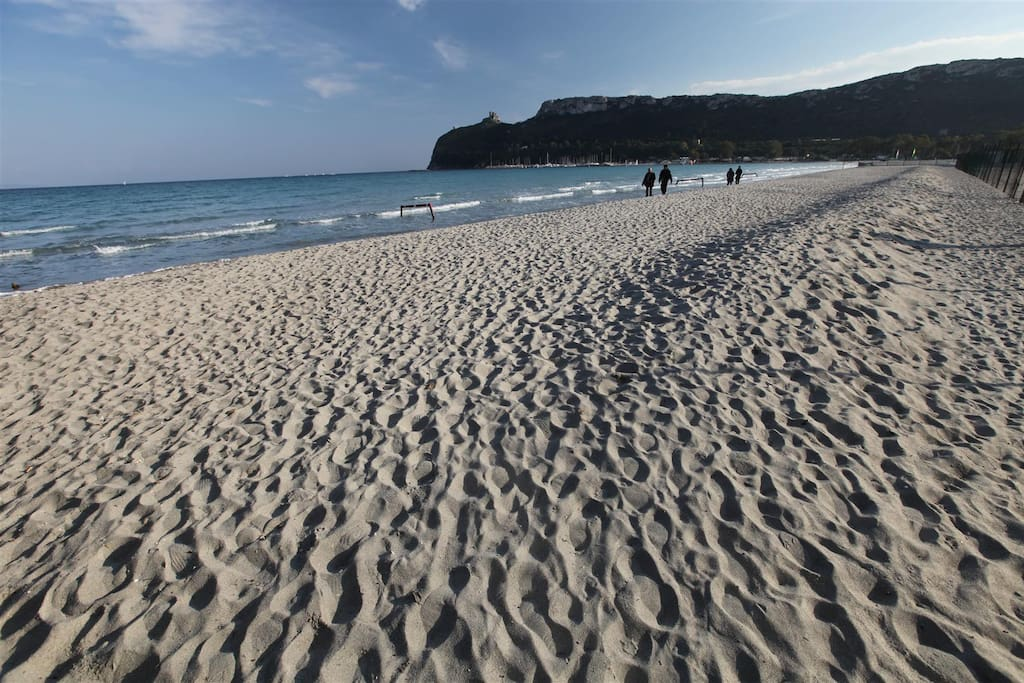 Poetto beach, great for sunbathing, swimming, and what about early morning jogging?