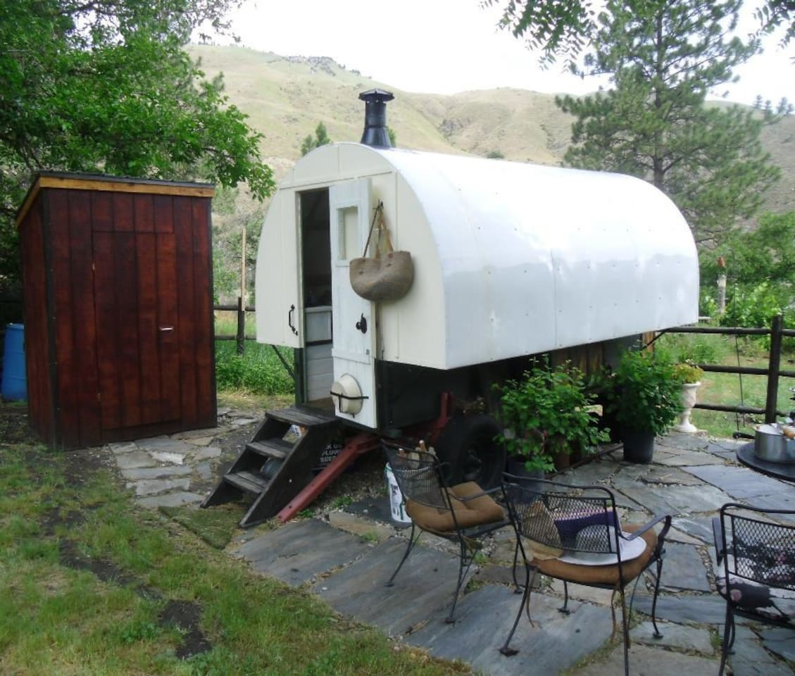 The Sheep Wagon in the Garden is located between the vegetable garden and orchard.  The bantam chicken pen is nearby.