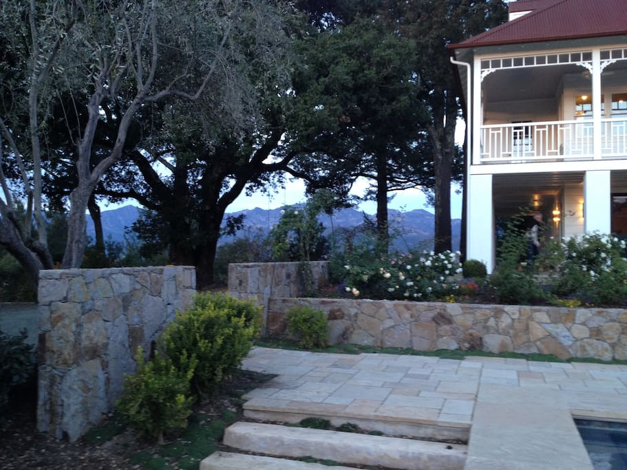 garden step from pool facing Mt. St. Helena