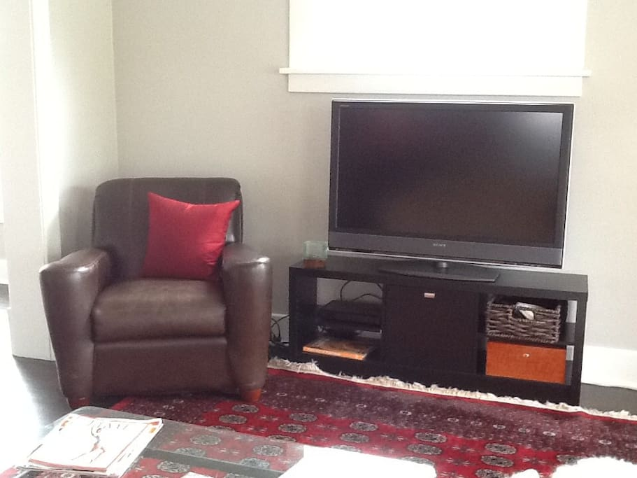 We have DirecTV and big leather chairs in the living room.