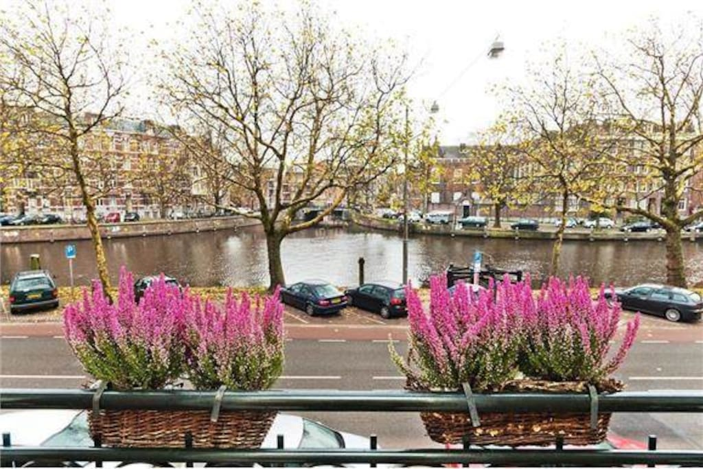 View of the Singel canal from the french balcony, sun between 8 am and 2 pm.