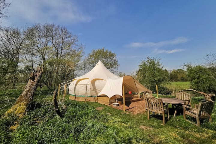 Luxury Lotus Belle Tent with Natural Swimming Pond