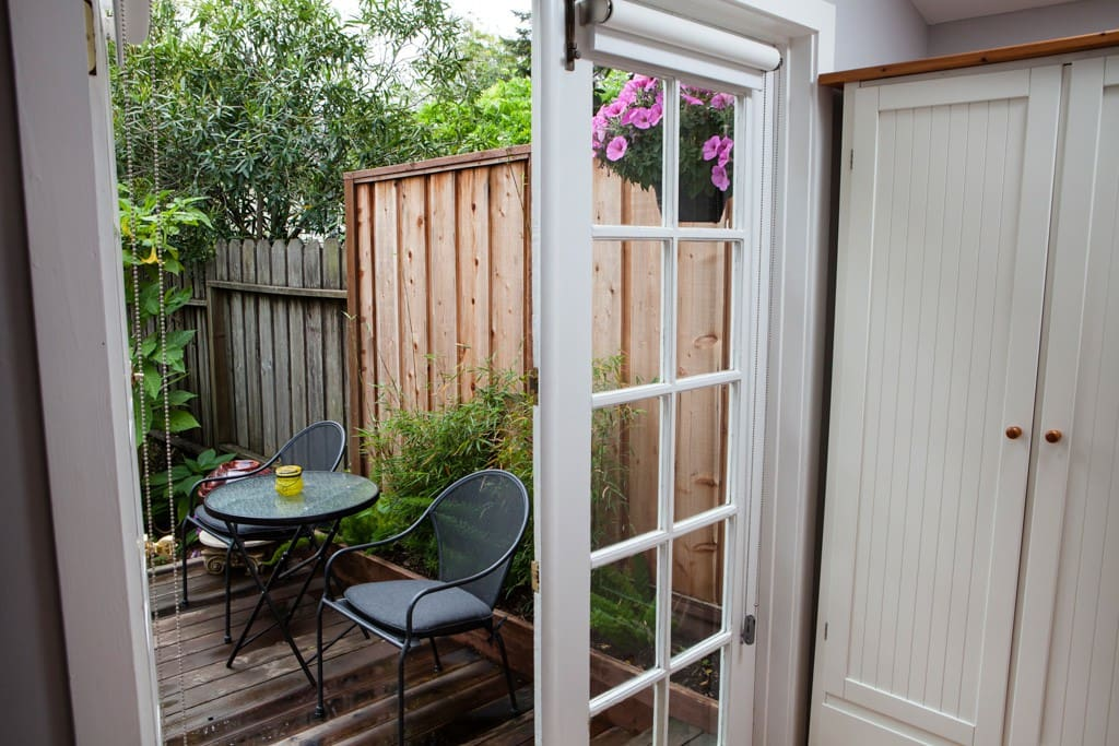 French doors open onto your own deck.