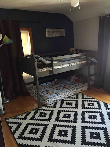 Lofted bed with two twin size mattresses