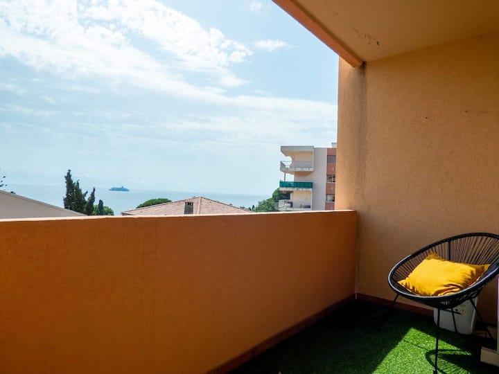 T3 climatisé, tout confort, avec balcon et vue mer
