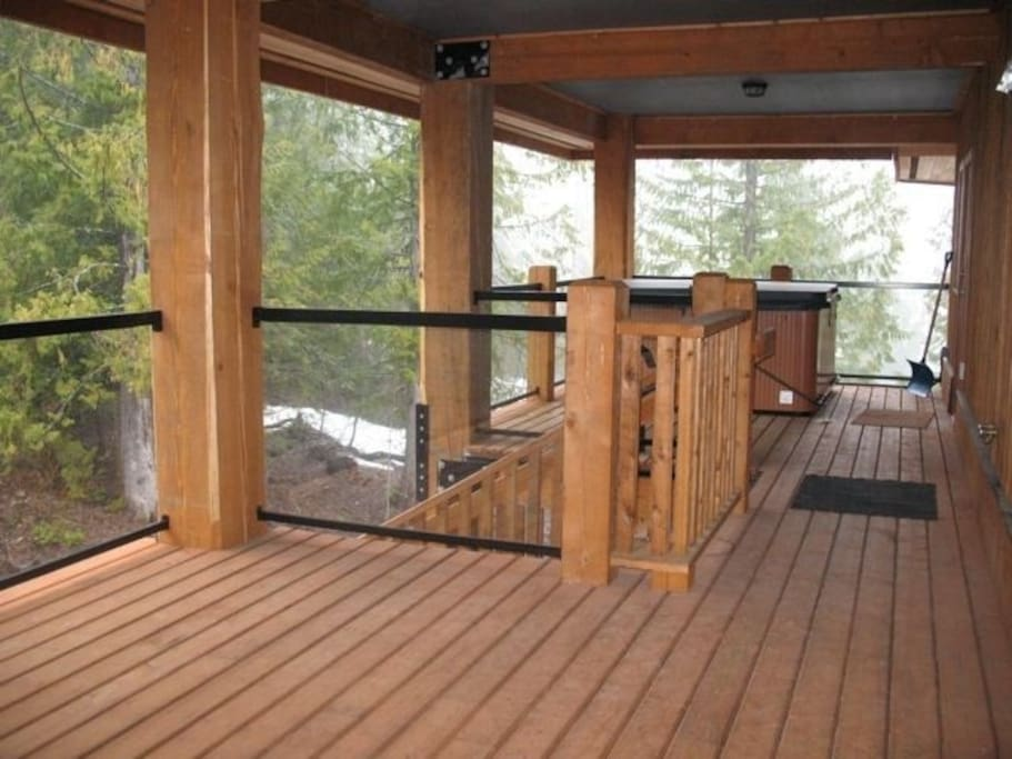 back deck with direct access from hillside