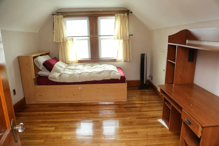 Private room comes with twin sized bed and desk