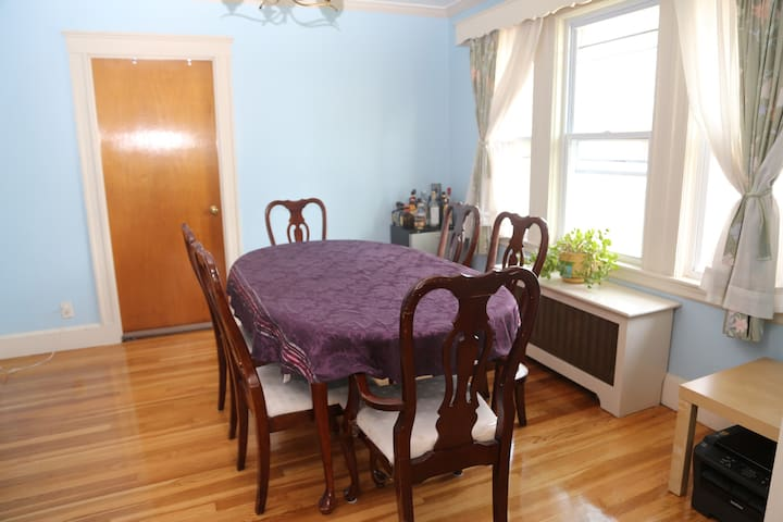 Full dining room table easily fits 6+