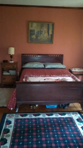 double bed and private bath downstairs