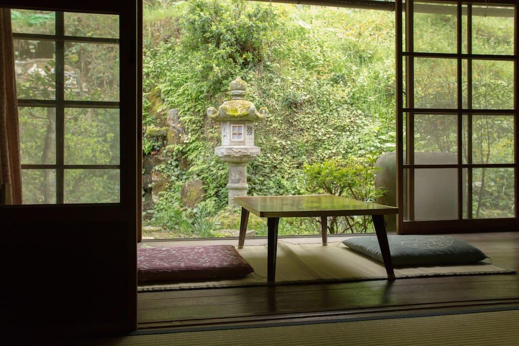 Japanese garden from terrace